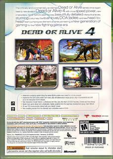 Dead or Alive 4 Box Art/Cover Scans / Microsoft Xbox 360